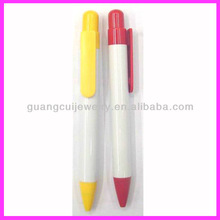 fashion plastic white color custom logo print fat pen as gift