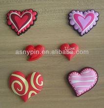 warm heart designed pvc fridge magnet rubber