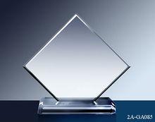 personalizado venta al por mayor de vidrio transparente de corte de la esquina de adjudicación trofeo placa
