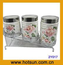 3 pcs Sealed Jar flotal print ceramic product 2Y017