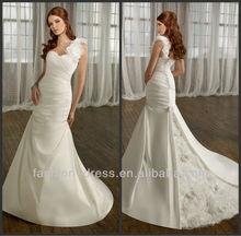 Noble One-Shoulder Satin Over Tulle Ruffle Flower Peacock New Wedding Dress