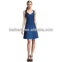 women fashion 2012 dress full skirt bandage dress blue H366