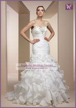 AWB1317 Formal Beaded Sweetheat Ruffle White Organza Elegant Bridal Gown 2012