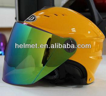 AD-802W YELLOW Spring helmet with rainbow sun visor