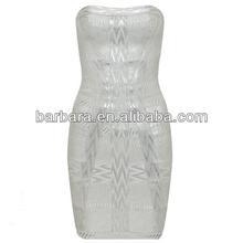 Marine foil-print strapless bandage dress office lady