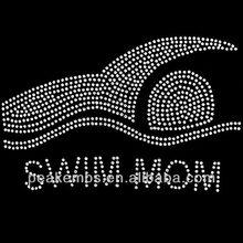 Rhinestone Swim Mom hotfix transfer motif