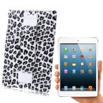 Leopard Texture Leather Paste Plastic Case with Grip for iPad mini