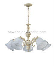 Cheap price bronze color glass classical chandelier in five lamps