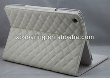 white stand quilt leather case for mini ipad