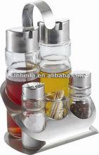 glass stainless steel cruet set