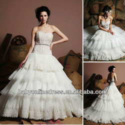 Wholesale 2013 Suzhou Beautiful See Through Corset Tiered Organza Lace Princess Ball Gown Wedding Dresses 23701