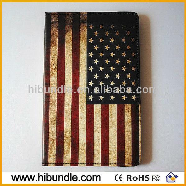 book style retro US flag leather case for ipad mini