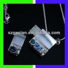 USB2.0 16GB Silver Metal Shell Noble Blue Diamond USB Flash Drive