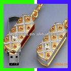 USB2.0 16GB Rotatable Royal Golden Diamond Rectangle USB Flash Drive