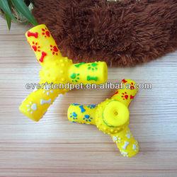dog toys free samples-12.9cm yellow tripod pet supply,squeak toy,chew toy