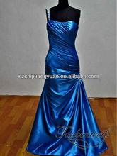 SJ1122 new design sexy one shoulder fold bead blue evening dress