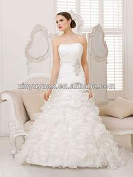 Popular Ruffled Maternity Layered A-line Strapless Organza Wedding Dress Bridal Gowns XYY-k42-17