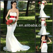 Strapless taffeta white and red mermaid wedding dress