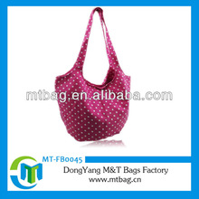 new arrival round dot printed lady canvas hobo bag