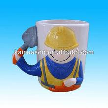 Custom porcelain mug 3d handle