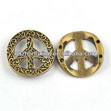 Vintage peace symbol antique bronze circle charms