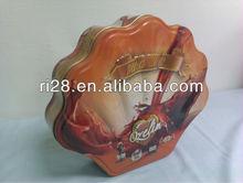 Big sugar packaging conch shaped tin can/candy tin can/cookies tin box
