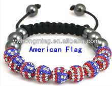 Wholesale Shamballa bracelet!!America flag shamballa bracelet jewelry!!