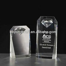 crystal diamond inside awards,diamond trophy souvenirs glass