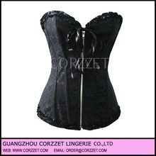 Cheap plain black corset with zipper front