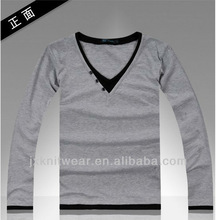 fashion plain v neck t shirt for men longsleeve