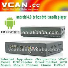 HDMI VCAN set top box Android DVB-T media player google 4.0 TV box cable set top box manufacturer