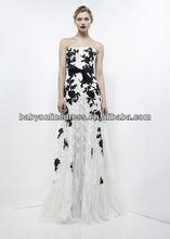 2012 Elegant zuhair murad evening dresses prom dresses white and black lace soft