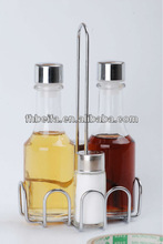 glass cruet oil and vinegar with metal rack