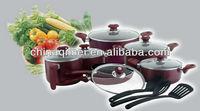 16pcs aluminium non stick cookware set include 3pcs nylon tools