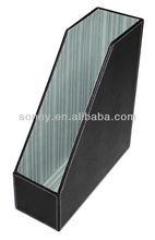 Black pu leather desk holder file stand