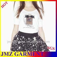 women fashion O-neck puff sleeve beading T-shirt