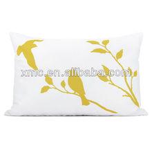 Mustard yellow bird in nature print on white fabric decorative pillow case print 12x18 lumbar pillow case print