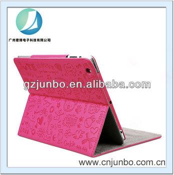 New Cute Korean Cartoon Case Pink PU Leather Cover Case for iPad mini