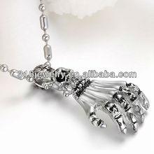 Classic skull handbone stainless steel pendant,casting style,high polished,DZ-010