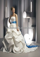 Custom Made 2012 Suzhou Strapless Pleat Satin Blue And White Wedding Dresses BD01
