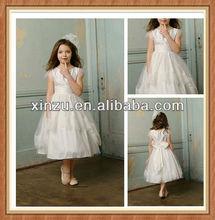 Most Cute Short Sleeve Tea-length Satin Bodice Flower Girls Dresses 2012