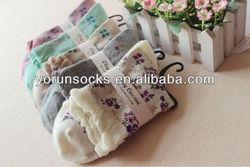 Fancy designed jacquard socks for women.