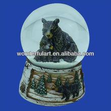 custom made resin black bear snow globe