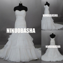 NW-349 Pleated Top New Design Organza Wedding Dress 2013