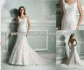 2013 elegante um - linha de cetim& applique frisado vestido de noiva jam-304