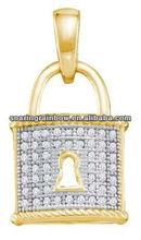 gold lock pendant