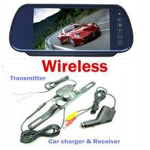 "7"" Car LCD Monitor Mirror+Wireless IR Reverse Car Rear View Backup Camera Kit"