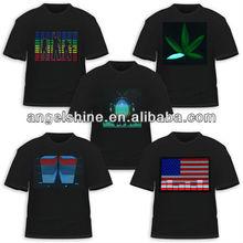 high brightness led el t-shirt ,flashing with the sound