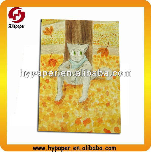 custom watercolor texture cartoon cat postcard