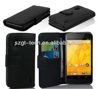 Newest design wallet PU leather case for google nexus 4 with stand